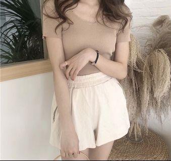 Apricot v-shape collar blouse