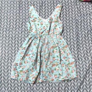 二手 水藍山茶花無袖雪紡小洋裝