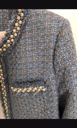 P.O. Tailor Made Chanel esque Tweed Blazer Jacket Blue Pearls embellishments
