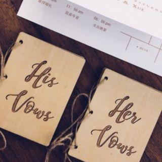 [NEW] Mini Vintage Wooden Wedding Vow Booklets - His Vows & Her Vows