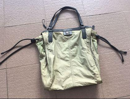 Authentic burberry Olive nylon tote shoulder bag