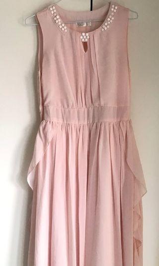 轉賣東京著衣-飄逸雪紡粉色長洋裝,衣長120公分,胸圍39公分,腰圍33分(誤差三公分)