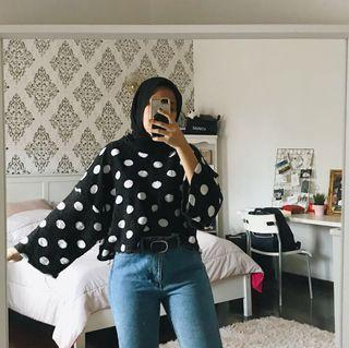 monki knitted polka dot cropped sweater