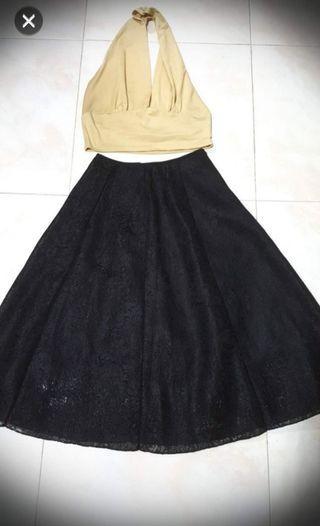 Halter neck + Flare skirt set