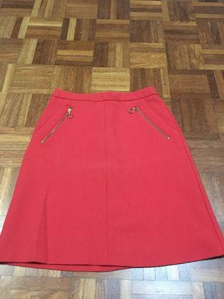 Red Mini A Line Skirt