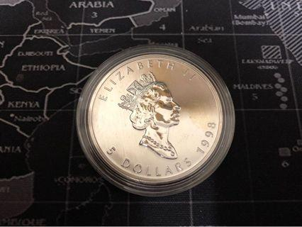 Canada Coin Maple 1 oz Argent Pur 5 Dollars (1998) Fine Silver