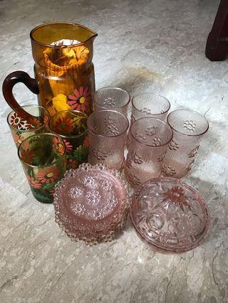 Glass Water pitcher, cups and saucer