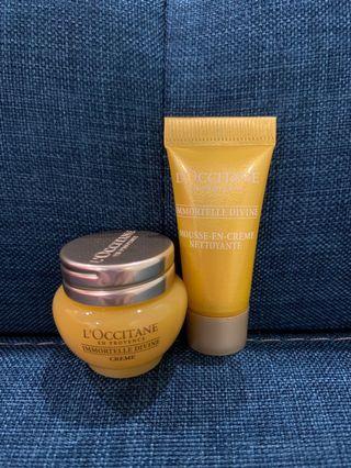 Loccitane Immortelle Divine Cream 4ml / Foaming Cleansing Cream 5ml