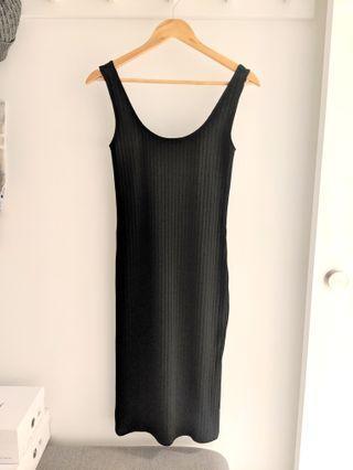Sportsgirl Black Rib Midi Dress