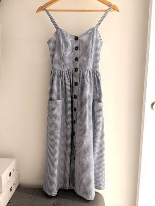 Blue & White Striped Button Down Midi Dress