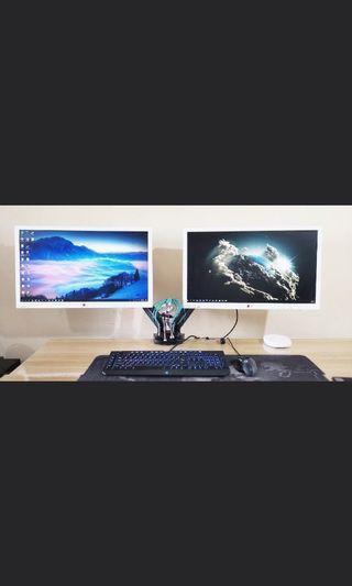"LG IPS 27"" inch monitor (02 unit) + NB arm"