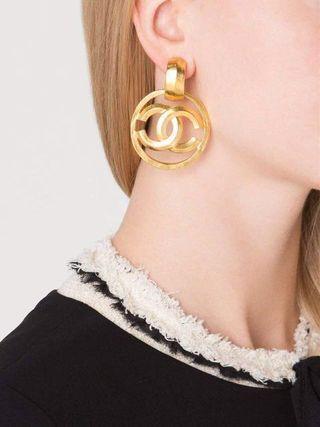 $2,225 Vintage CHANEL CC Gold Charm Circle Hoop Doorknocker Large Dangle Earrings