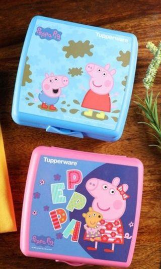 Authentic Tupperware Peppa Pig and George lunch box/ tiffin box/ snack keeper/ storage/ refrigerator/