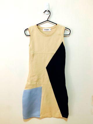 斯文裙 colour block dress