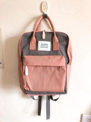 🚚 後背包 雙肩後背包  雙肩包 學生書包 高中學生粉色 灰色