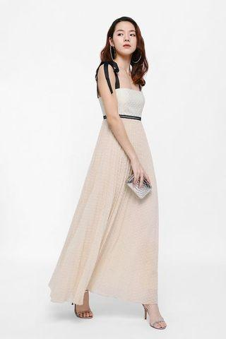 Deran Pleated Ribbon Tie Maxi Dress