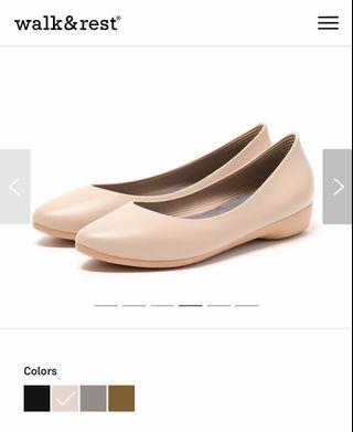 Walk & Rest F3 Pointed Toe Nude Flats (Nude Beige)