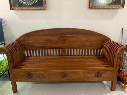 🚚 Cheap teak wooden 3 seater chair sofa/ Kayu Jati