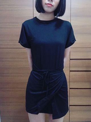 🚚 一件式 綁帶 顯腰 黑色小洋裝