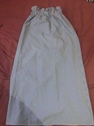 Blue maxi checkered skirt