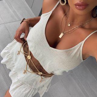 Singlet dress with ruffle hem