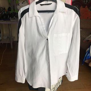 ZARA Basic White Shirt with Black Strip