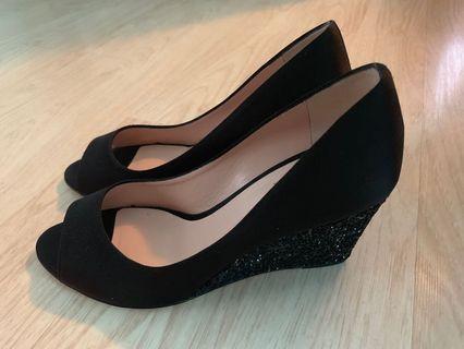 Kate Spade Radiant black satin glitter wedges