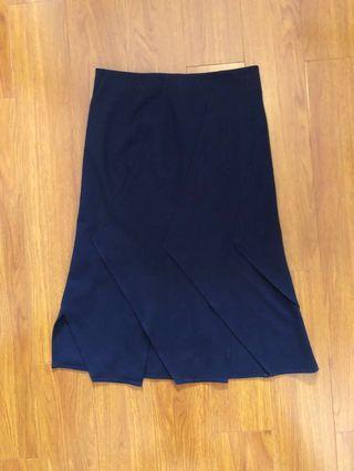 COS Navy Pleated Skirt 藍半截裙