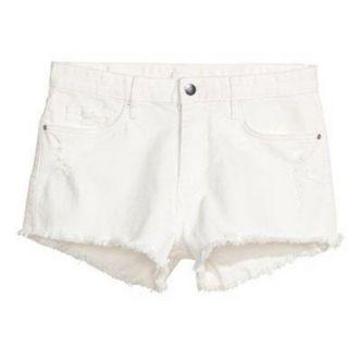 H&M Frayed Denim White Shorts
