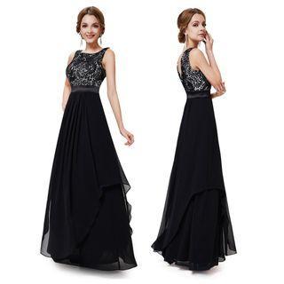 Readystock black sleeveless prom evening gown dress