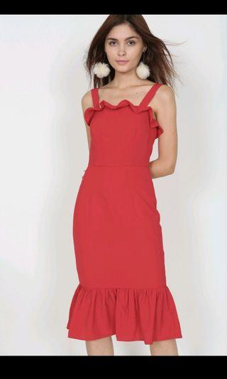 MDS Flare ruffled dress in Red S