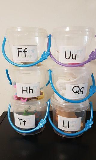 Letters a to z figurine tubs