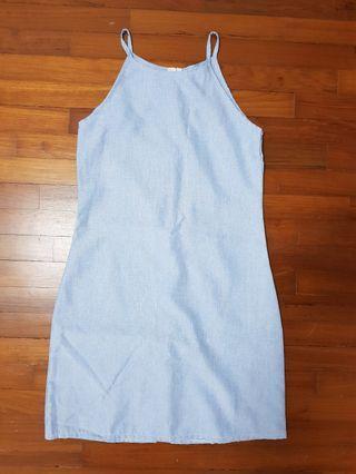 Light Blue Halter Neck Dress (Size S)