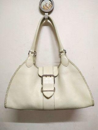 Beige Genuine Leather Shoulder Bag