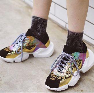 Rainbow printed chunky sneakers