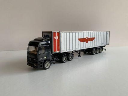 Herpa 1/87 平治孖尾轆車頭+48呎APL貨櫃(極少有)收藏品