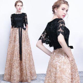 Readystock gold black wedding bridal prom evening gown dress