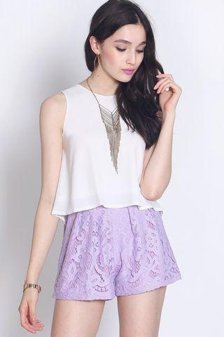 Fayth Stardust Lace Shorts in Lavender (Size S)