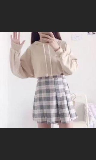 🚚 全新⭐️駝色衛衣+格子百褶裙
