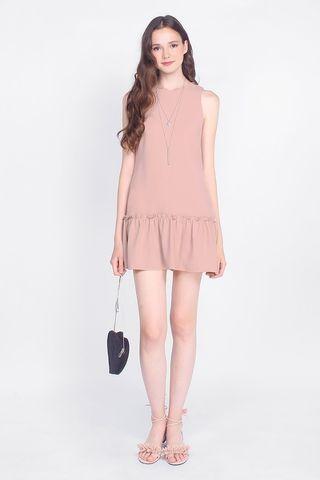 Fayth Jamie Dropwaist Dress in Nude Pink (Size S)