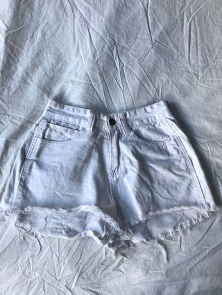 Ripped Denim Shorts White