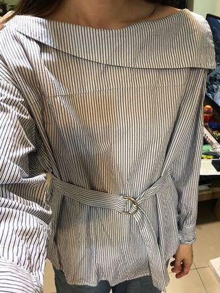 Murua藍色條紋襯衫