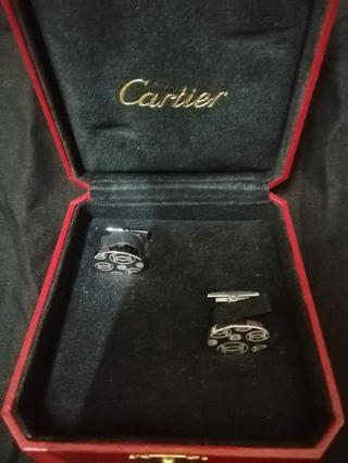 Vintage Cartier Cc logo silver cufflinks.