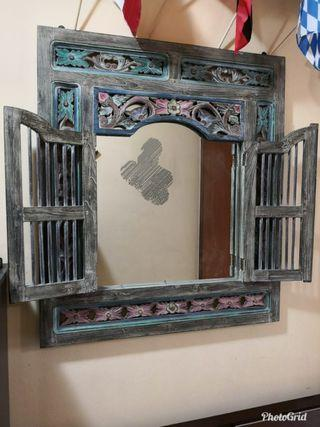 Rustic Bali Window Mirror