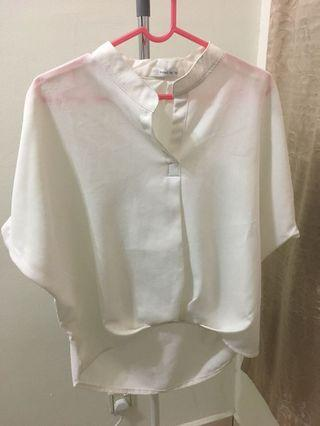 White Loose Oversized Open Collar Top