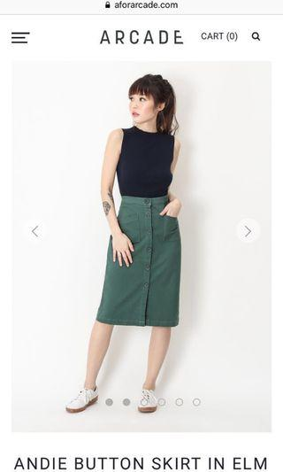 🚚 ANDIE BUTTON SKIRT IN ELM GREEN
