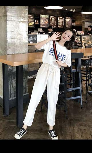 2019春夏米白色韓版鬆緊百搭休閒九分直筒褲