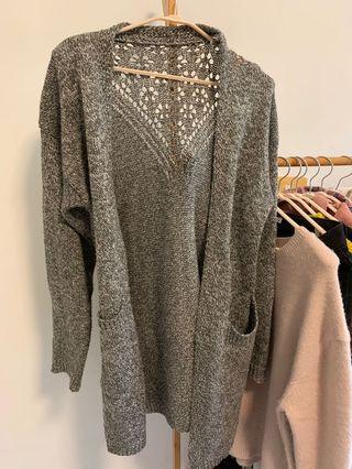 深灰色針織厚款毛衣長版鏤空百搭顯瘦外套