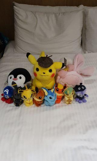 Pokemon soft toys and keychains