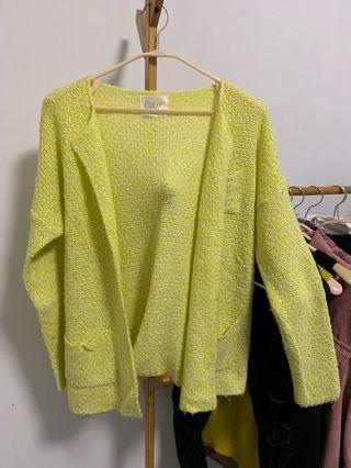 2019韓版新款芥末黃色針織毛衣外套